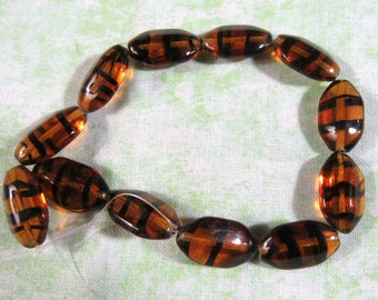 1 Strand Czech Puffed Octagon Beads 18/10mm Tortoise (B400i)