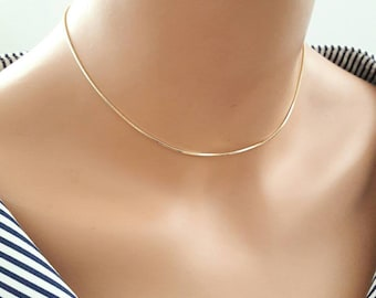 24k gold plated choker,dainty choker,delicate chain choker,layering necklace,gold snake chain necklace,18k gold plated snake chain choker