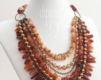 Carnelian and Agate Waterfall Necklace   Handmade Jewelry