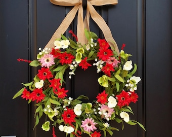 Wreaths, Summer Wreath For Front Door, Daisy Wreath, Red Daisy Wreath,  Wreaths