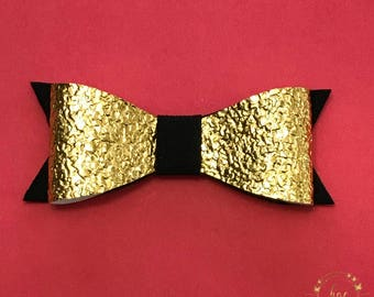Gold Faux Leather With Black Suede Hair Bow