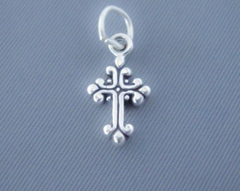 1 Sterling Silver Small Fancy Ornate Cross Charm, Mini