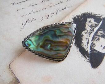 Vintage Sterling Silver Brooch, Abalone Shell, Paua Shell