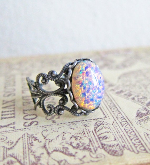 Items Similar To Opal Ring Exquisite Braided Opal: Items Similar To Antique Silver Ring Fire Opal Ring Pink