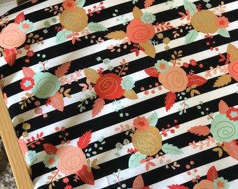 Flower and Stripes Fitted Crib Sheet