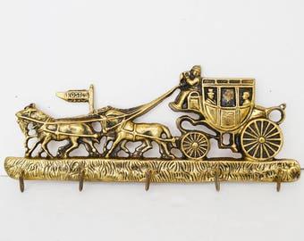 Vintage brass hanger, horses decoration,