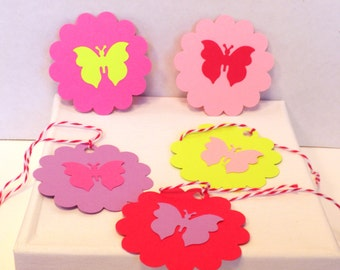 25 Butterfly Scallop Gift Tags-Gift Tags, Tags, Gift Tag,Favor Tags, Party Tags, Wedding Tags, Gift Bag Tags