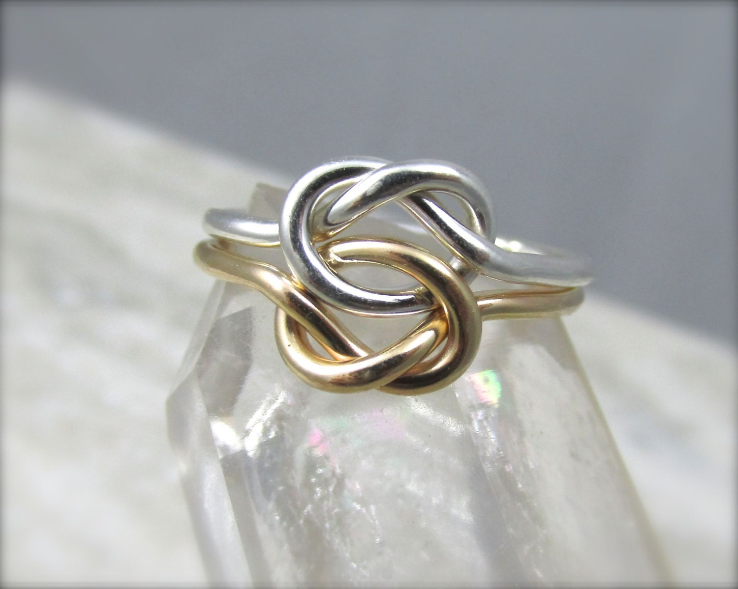 14k Gold and Silver Double Love Knot Ring / Solid Gold Celtic