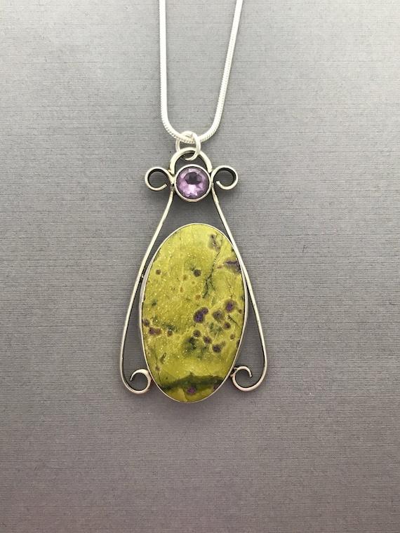 Atlantisite with stitdrtite, amethyst, pendant, handmade,