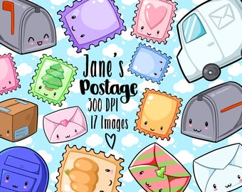 Kawaii Postage and Stamps Clipart - Kawaii Download - Instant Download - Mail Items - Seasonal