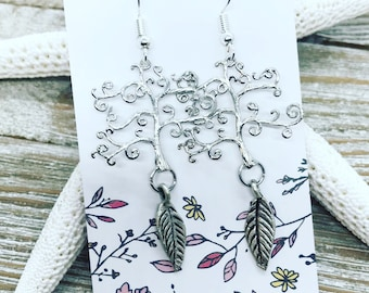Tree of life earrings with pewter leaf charm.