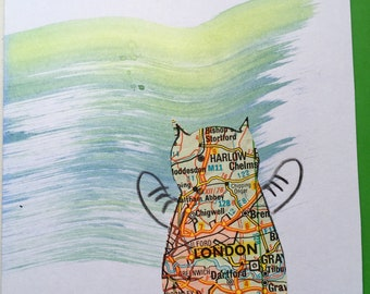 """Unique """"Catography"""" greetings cards. Cat card. Place. names. Mixed media and found objects. Cats. Maps. Road atlas art.  Cartography."""