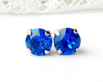 Capri blue rhinestone stud earrings / 8mm / Swarovski / Mothers day / gift for her / September / sapphire / girlfriend gift / birthday gift