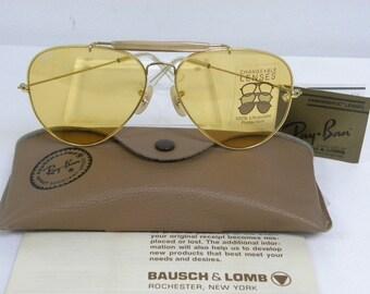 New Vintage B&L Ray Ban  Outdoorsman II Gold Ambermatic 62mm L0093  Aviator Sunglasses USA