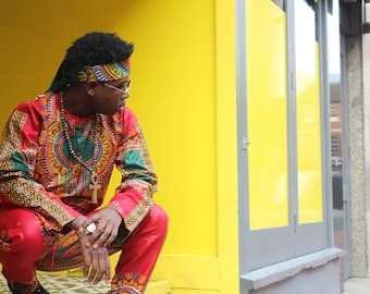 African Suit - African Print Shirt - Dashiki Top - Dashiki Outfit - Festival Clothing - African Top - Baggy Pants - African Two Piece