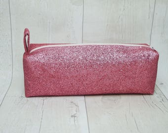 Glitter pencil case/ Makeup bag, fully lined with water proof fabric