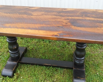 Rough Lumber Trestle Table / Cottage Dining Table / Rustic Table / Reclaim Lumber Table / Double Pedestal Table