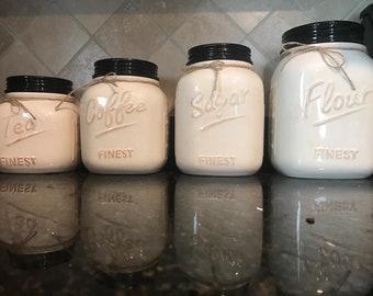 Large Set of 4 Canister Set For Kitchen, Flour Jar, Sugar Jar, Coffee Jar, Canister Set, Kitchen Decor Farmhouse Decor, Rustic Kitchen Decor