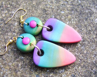 Rainbow Earrings. Polymer Clay Earrings. Bright Earrings. Colourful Earrings. Festival Earrings. Boho Earrings. Hippy Earrings. Gift For Her