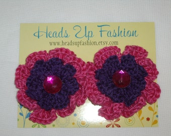 Crocheted - Hot Pink/dark purple poppy hair clips with hot pink gems