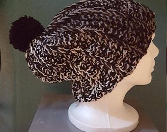 crocheted black gray white hat