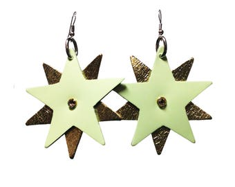 Star Bright Earrings - Glow in the Dark and Gold Leather Star Shaped Earrings - Party Earrings with Silver Plated Earring Fish Hooks
