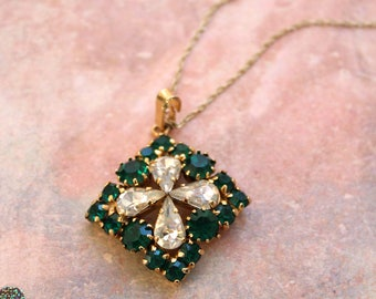 Vintage Rhinestone Crystal Long Necklace // New Old Stock // Emerald // Crystal Square