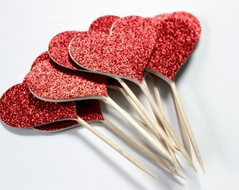 Sparkly Red Cupcake Toppers, Christmas Party, Red Heart Cake Topper