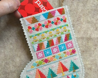 SATSUMA STREET Mini Stockings Christmas counted cross stitch patterns Set of 4 designs at thecottageneedle.com stockings