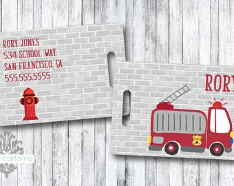 Luggage Tag | Personalized Bag/Luggage Tag | Kids Backpack Tag | Diaper Bag Tag | Custom Bag Tag | Travel Accessory | Fire Truck and Fireman