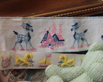 2 vintage Bambi and Yellow Duck kids 570 2 embroidered lace