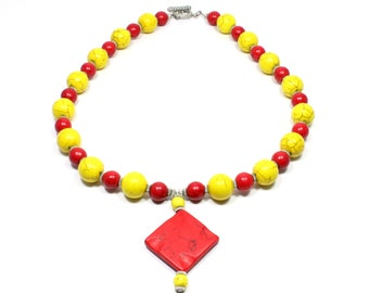 Colorful Semi Precious Stone Necklace - Red and Yellow Howlite Necklace - Gemstone Jewelry - Beaded Jewelry - Semi Precious Stone Jewelry
