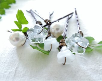 Mixed White Floral Hair Pins Set for Bride Wedding Hair Accessories Wire Wrapped Flower Bobby Pins Flowers and Pearls Hair Pins Gift for Her