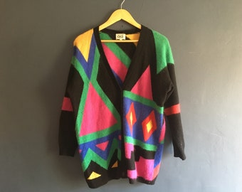 Bright Multicoloured 80s Soft Lambswool blend Cardigan M-L
