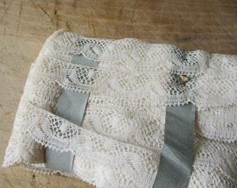 """Antique french lace ribbon, 1930s, Vintage, Crochet, Dentelle ancienne, White cotton, Wedding, 700"""" to 1400"""""""