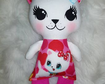 Reduced - Baby retro kitty softie - handmade cat doll