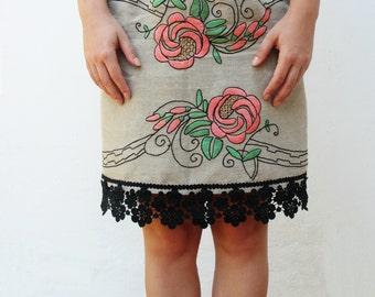 Art Nouveau Rose Skirt Fairy tale Skirt Sleeping Beauty Pink Roses Vintage Embroidery Linen US size 6 EU size 36