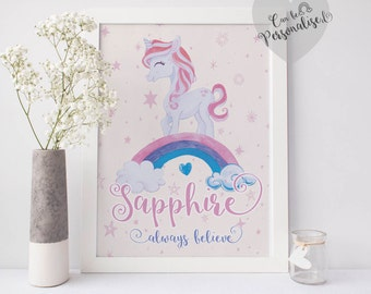 Personalised Pink Unicorn Rainbow Print, Nursery Unicorn Print, Always Be a Unicorn, Unicorn Nursery Decor, Gifts for her, Girls Bedroom