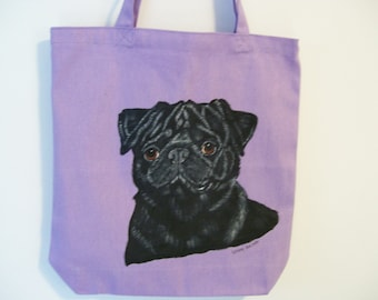 Reuseable Canvas Tote with a Black Pug Dog