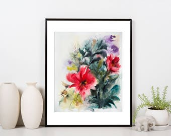 Abstract botanical Original Watercolor Painting, Red Flowers and Green Leaves, Modern Floral Painting, Abstract Realism Painting Art