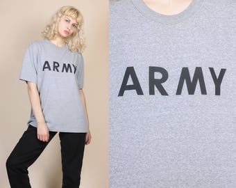 Vintage Heather Gray Army Tee - XL // Retro 80s 90s T Shirt