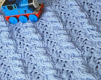 Unique Hand Knit Baby Blanket in Blue, Baby Afghan, Reversible, Cable, Chunky Knit, Very Soft,  Baby Boy