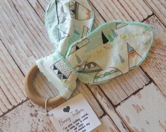 Teething Bunny - Baby Teething Toy - Wooden Teething Toy - Wood Teething Ring - Baby Shower Gift - Baby Stocking Stuffer - Bunny Ear Toy