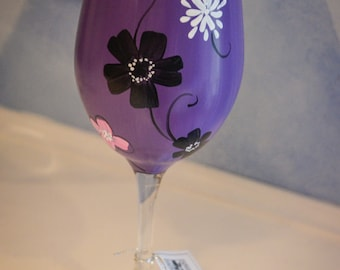 Purple Wine Glass with Floral Design