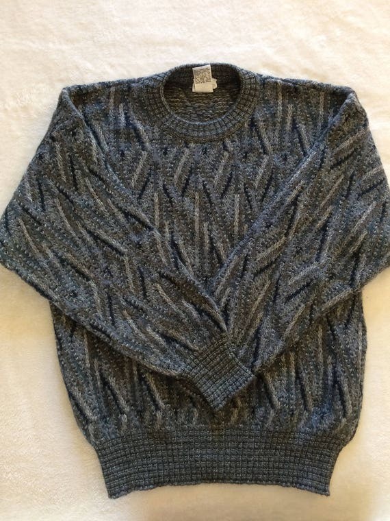Neiman-Marcus Mohair Wool Blend Gray Scale Patterned Men's Sweater ,Size Small,Made in Italy.