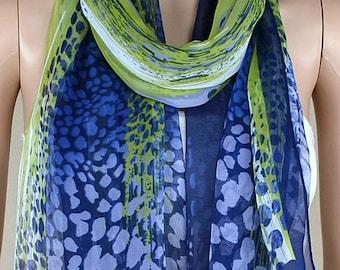 Classic blue leopard print scarf, silk chiffon scarves, shawls, collar, thin and elegant
