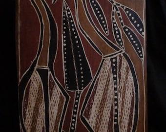 Mick Magani aboriginal bark painting
