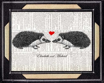 HEDGEHOG COUPLE art print wedding anniversary love rustic barn woodland forest animal on vintage dictionary book page wall decor 8x10, 5x7