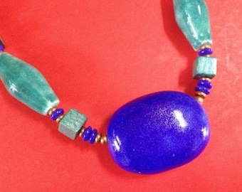 Colorful Miriam Haskell Egyptian Signed Choker Necklace – 1960s Jewelry