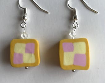 Kitsch Battenberg cake square earrings pierced slightly reduced for New Year sale